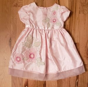NWOT George Pink Taffeta Floral Embroidery Dress
